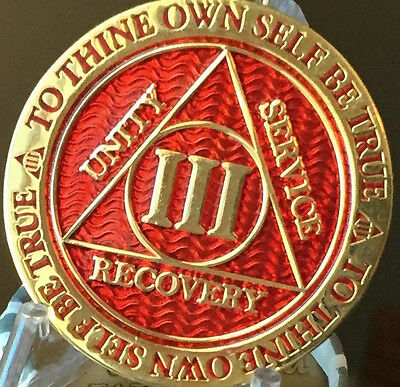 3 Year AA Medallion Red Gold Plated Alcoholics Anonymous Sobriety Chip Coin III
