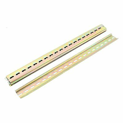 Uxcell 40 cm Length 35 mm width Slotted Design Metal Din Mounting Rail 5 Pcs