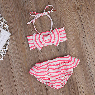 UK Stock Striped Kids Baby Girls Bikini Set Swimwear Swimsuit Beachwear Clothes