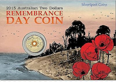 2015 $2 REMEMBRANCE DAY COLOURED Coin on Card