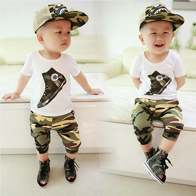 2pcs Toddler Infant Kids Baby Boys T-shirt+camouflage shorts pants Sets Clothes*