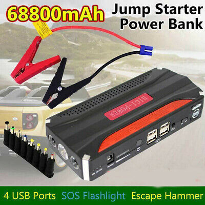 68800mAh Portable Car Jump Starter 12V Booster Laptop Power Bank Battery Charger