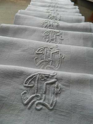 "Set 12 antique French linen damask napkins hand embroidered monogram ""J.D"""