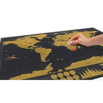 Deluxe Travel Edition Scratch Off World Map Personalized Journal Log Gift Hot CU
