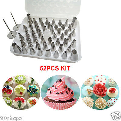 52PCS Cake Decorating Tools Stainless Steel Icing Piping Nozzles Pastry Tips Set