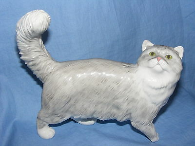 John Beswick Connoisseur Collection Cat Persian Shaded Silver JBCOC6