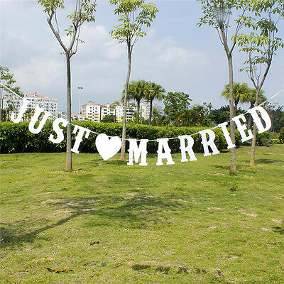 JUST MARRIED 13pcs Paperboard Garlands Banner 3m Wedding Party Home Decor New
