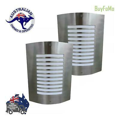 LED 2 Outdoor Wall Mounted Lamps Sconce Lights Stainless Steel + FREE LED GLOBES