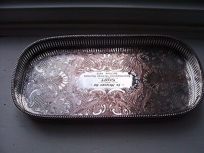Heavy Good Quality Silver Plate Gallery Tray On Copper