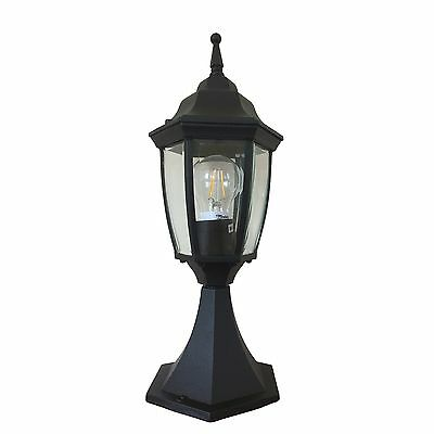 2 X Traditional Black LED Outdoor Pillar Mounted Coach Light