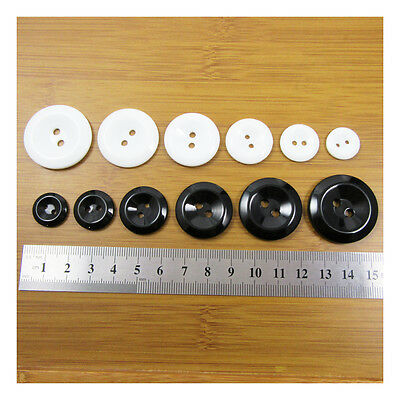 BLACK or WHITE THICK ACRYLIC BUTTONS *15mm - 30mm* 6 SIZES SEWING HABERDASHERY