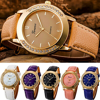 Fashion Women Geneva Diamonds Stainless Steel Leather Quartz Analog Wrist Watch