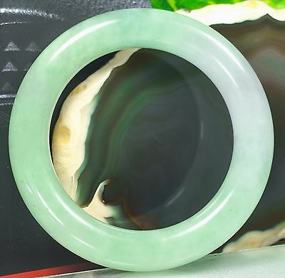 Vintage Chinese Natural Icy Light Apple Green Jade Bracelet Jadeite Bangle 58mm
