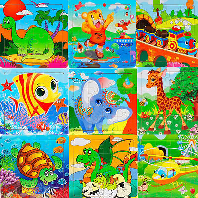 Wooden Kids 16 Piece Jigsaw Toys Education And Learning Puzzles Toys For Childs