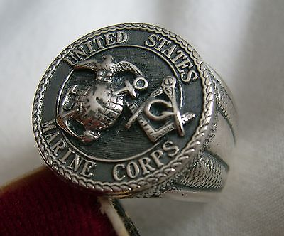Ring +++Us Marine Corps -Masonic +++ Solid Silver 925
