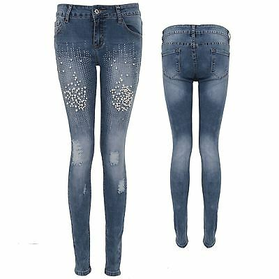 Ladies Low Rise Pearl Diamante Detail Ripped Distressed Slashed Skinny Jeans