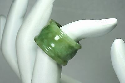 19th Chinese Natural Icy Glossy Emerald Green Jadeite Jade Archer'Thumb Ring