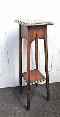 Antique vintage 2 tier tapering oak plant display stand