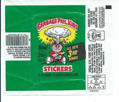 Garbage Pail Kids 3rd Series Trading Card Wax Wrapper Vintage Topps 1986