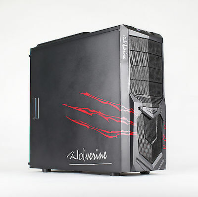 AvP Wolverine Red Midi Tower Gaming PC Case Inverted USB 3.0 Red LED