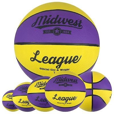 Midwest Yellow & Purple League Basketball Indoor & Outdoor Ball Size 3, 5, 6, 7