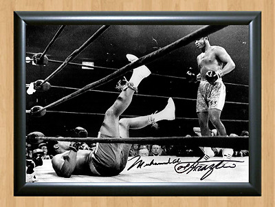 Muhammad Ali Floored by Joe Frazier 1971 Signed Autographed Print Photo Poster