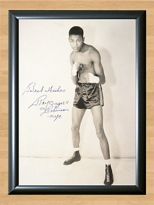 Sugar Ray Robinson Young Signed Autographed Print Photo Poster Pose Gloves Ring