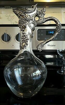 Vintage Silverplate Glass Whale Decanter Rare Flip Top Carafe