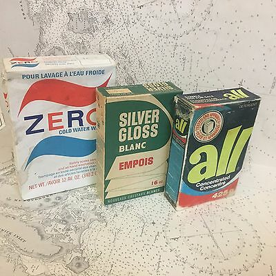 vintage lot LAUNDRY cardboard boxes ALL SILVER GLOSS starch ZERO advertising