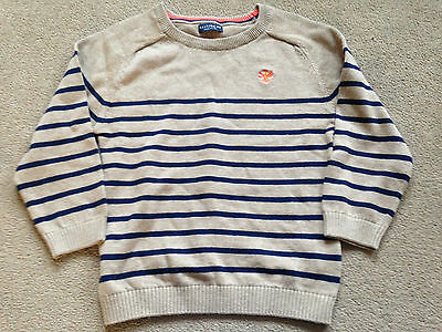 BNWT NEXT Boys Navy Blue Brown Stripe Cotton Sweater Jumper 3 Years