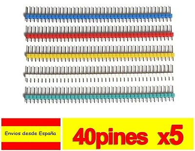 5x TIRA 40 PINES MACHO Varios Colores simple row male Arduino pin header K051