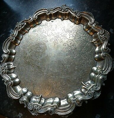 Antique Victorian Silver Plated Salver Tray