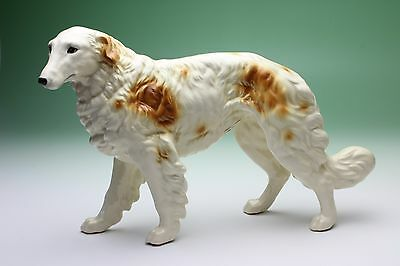 Brown White Borzoi Russian Wolfhound Looking Sideways Porcelain Figurine Japan