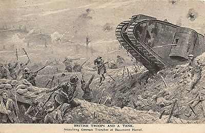 POSTCARD  MILITARY   WWI  Beaumont  Hamel   British  Troops &  a  Tank