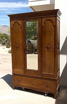 Vintage Antique Inlaid Armoire Wardrobe w/ Mirror
