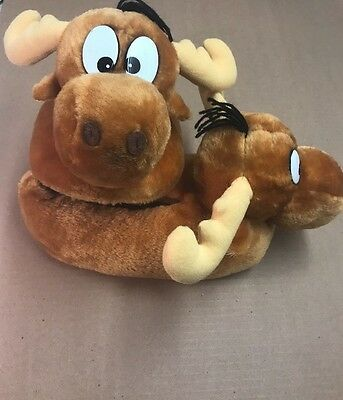 The Adventure Of ROCKY And BULLWINKLE Plush Slippers Size M 7-8