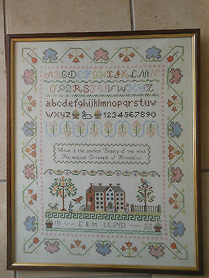Hand Sewn Framed Sampler Dated 1952 In Excellent Condition