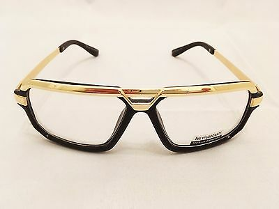 CLASSIC VINTAGE AVIATOR Style Clear Lens EYE GLASSES Black & Gold Fashion Frame
