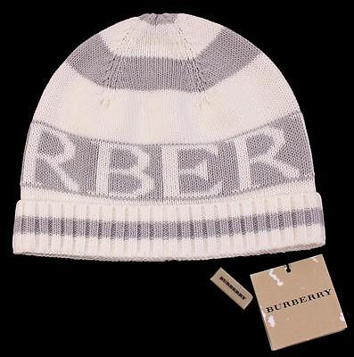 BURBERRY Authentic Gray White Soft Cotton Sweater Hat ~ 50 Euro - 2-3 Yr NWT aa