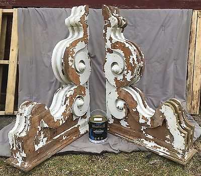 Huge Antique Pr Victorian Entryway Corbels Brackets Shabby Vintage Chic 218-17E