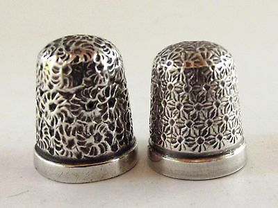 Two Antique Silver Thimbles Ref 164/5