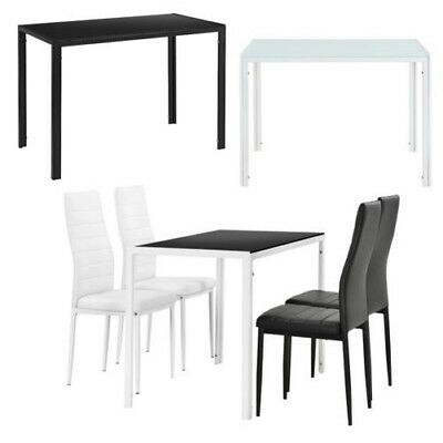 [en.casa] Dining Table 105x60cm with Set of 4 Chairs Room Group