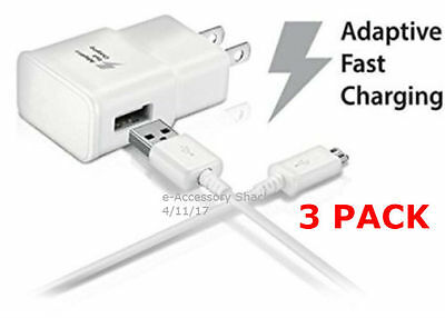 3x 10FT Type C Cables+3x Adaptive Fast Charge Wall Adapters Rapid USB-C Charger