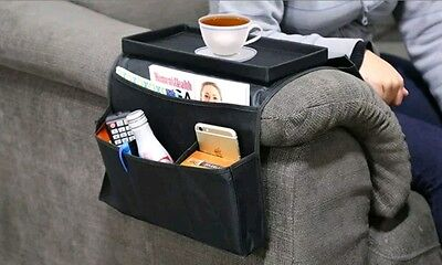Sofa Chair Arm Rest 6 Pocket Organiser Couch Remote Control Storage Tray Holder