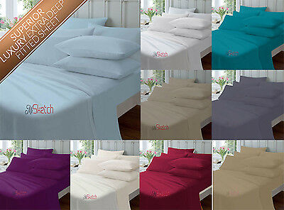 """Extra Deep Fitted Sheets 16""""/40CM Percale Single Double King Super King Pillows"""