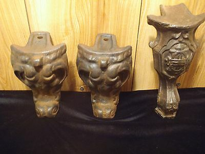 antique cast iron wood stove legs lot of 3 ornate Victorian