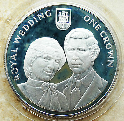 GIBRALTAR 1 Crown 1981 Sterling .925 Silver Proof KM#14a - Royal Wedding