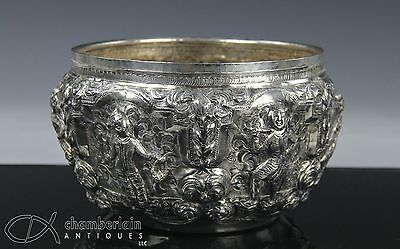 Antique 19C Burmese Silver Bowl With Relief Design Of Figures