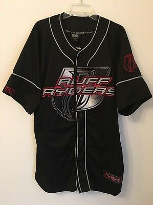 VINTAGE MEN'S RUFF Ryders Dirty Denim DMX Baseball Jersey Black Large