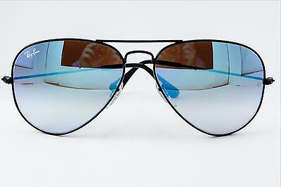 Authentic New Mens Ray-Ban Aviator Black With Blue Sunglasses Rb3025 002/40